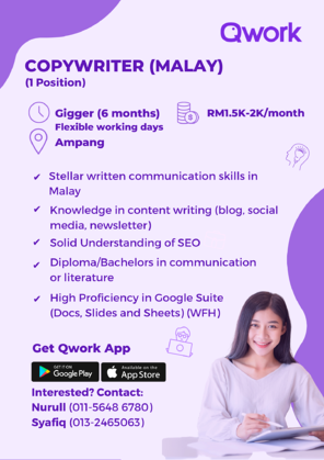Job Opening-Qwork Copywriter (Malay)